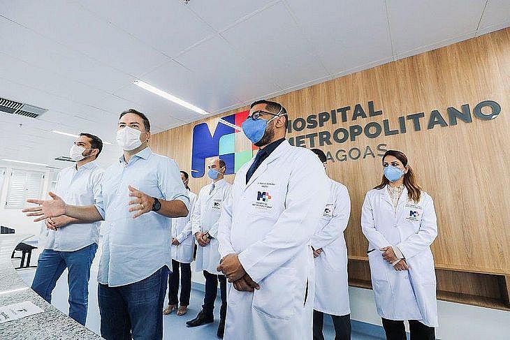 Imagem de arquivo: governador Renan Filho no Hospital Metropolitano de Maceió