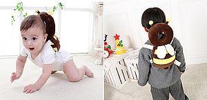 Mochilas em forma de animais são criadas para proteger cabeça de bebês