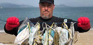 Máscaras usadas estão indo parar nos mares e nas ruas; qual o jeito correto de descartá-las?
