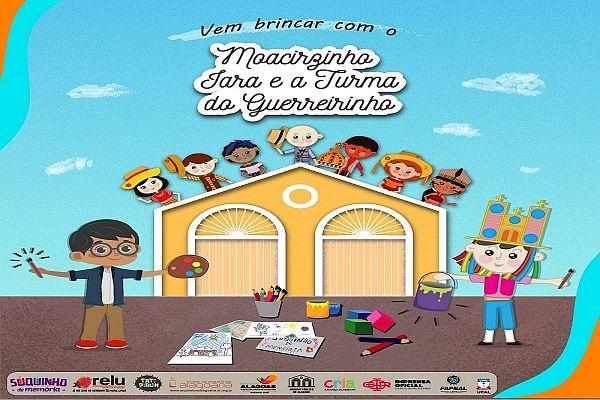 Moacirzinho, mascote do Arquivo Público, Iara e a Turma do Guerreirinho ilustram vários desenhos e jogos para entreter as crianças durante a quarentena