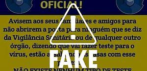 É Fake comunicado atribuído às Vigilâncias Sanitárias de Maceió e de AL