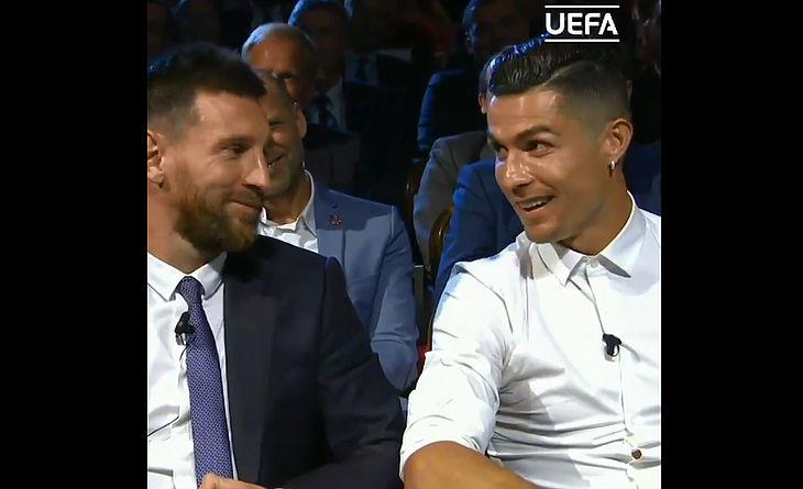 Messi e Cristiano Ronaldo em descontraída entrevista na premiação da Uefa