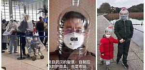 Coronavírus: chineses usam galão de água e sutiã como máscara de proteção
