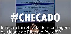 Imagem com datas para reabertura do comércio não é de Alagoas