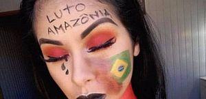 Blogueira faz maquiagem contra incêndio na Amazônia e viraliza na web