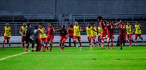 Jogadores do Galo comemoram gol de Igor Cariús que deu o 31º título alagoano ao CRB