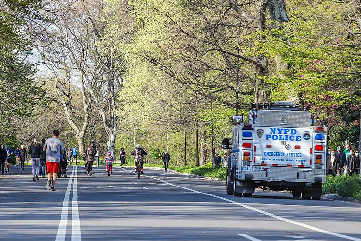 Movimentação no Central Park em Nova York durante pandemia de coronavirus COVID-19 nos Estados Unidos