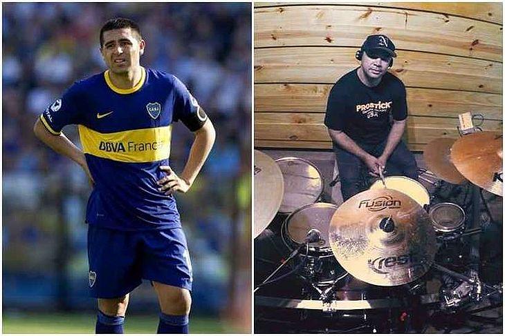Jogador argentino Riquelme e o brasileiro baterista Riquelme
