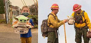 Criança envia 'Baby Yoda' para motivar bombeiros que apagam incêndios florestais nos EUA