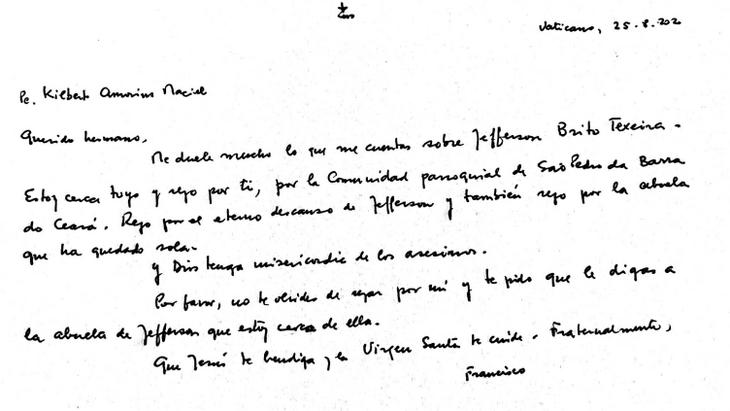 Carta escrita pelo Papa Francisco para a Paróquia São Pedro e para avó de Jefferson