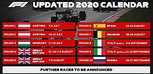 Fórmula 1 anuncia mais duas corridas em 2020