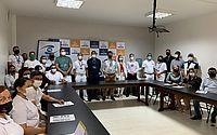 A ação foi ministrada pelo coordenador da Vigilância Sanitária, Airton Santos, e pela nutricionista e gerente de Alimentos, Vitória Sarah.