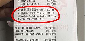Empatia: cliente faz pedido em Maceió e pede que lanche seja entregue a quem precisa