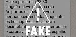 Covid-19: fake news 'alerta' para helicóptero pulverizando desinfetantes