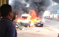 Vídeo: três carros pegam fogo e bombeiros são acionados, no Tabuleiro