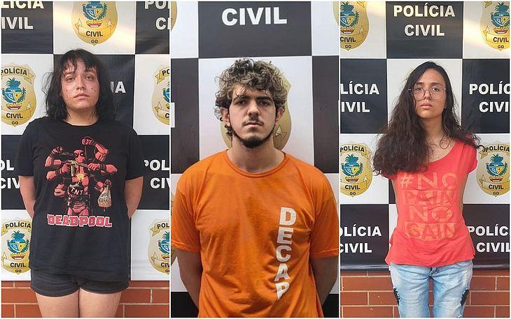 Freya, Jeferson Rodrigues e Raíssa Borges foram presos suspeitos de matar amiga em ritual em Goiânia, Goiás