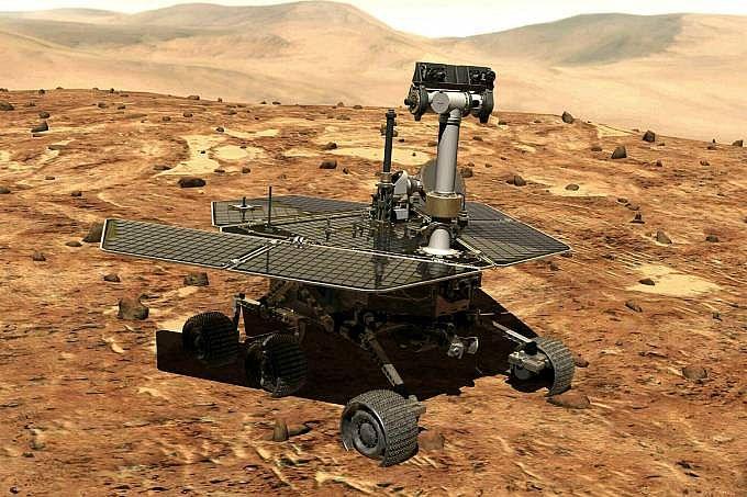 Ilustração do Opportunity na superfície da Marte: 217.000 imagens, incluindo 15 vistas panorâmicas de 360º, enviadas em 15 anos de funcionamento