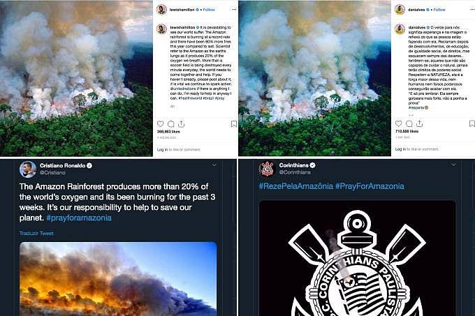 Esportistas e clubes se posicionam nas redes sobre as queimadas na Amazônia