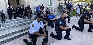 Protestos por justiça para George Floyd recebem apoio de policiais nos EUA