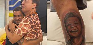 David Brazil se emociona ao ver fã com tatuagem de seu rosto: 'Não é a Dilma'