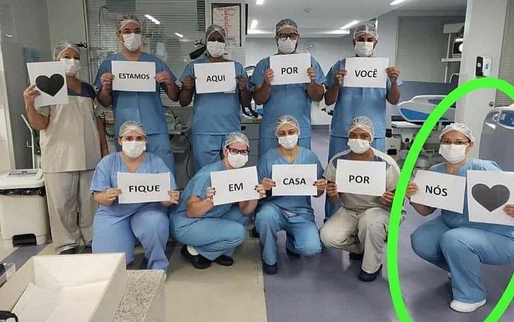 Adelita Ribeiro da Silva apareceu em foto pedindo para que todos fiquem em casa